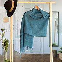 100% baby alpaca shawl, 'Whispering Azure' - Azure Blue Patterned Handwoven Baby Alpaca Shawl