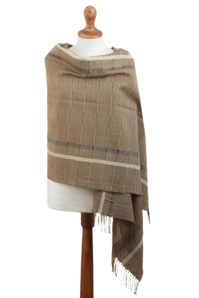 100% baby alpaca shawl, 'Sepia Windowpanes' - Handwoven Patterned Sepia Brown Baby Alpaca Shawl