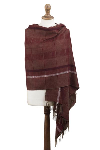 100% baby alpaca shawl, 'Burgundy Windowpanes' - Handwoven Patterned Burgundy and Brown Baby Alpaca Shawl