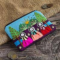 Applique cotton blend coin purse, 'A Walk in the Fields' - Applique Coin Purse Handmade in Peru