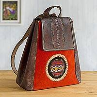 Wool-accented suede and leather backpack, 'Andean Sunset'