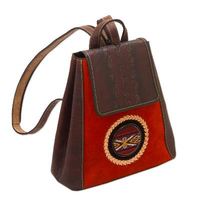 Wool-accented suede and leather backpack, 'Andean Sunset' - Leather and Suede Backpack with Wool Accent