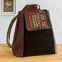 Wool-accented suede and leather backpack, 'Trip to Cusco' - Hand- Tooled Leather and Suede Backpack