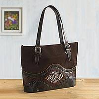 Wool-accented leather tote bag, 'Inca Memories' - Dark Brown Suede and Leather Tote Bag