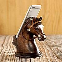 Wood cellphone holder, 'Indomitable Force' - Hand Carved Horse Cellphone Holder