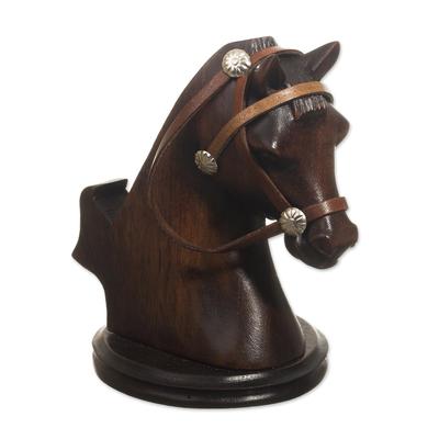 Wood cellphone holder, 'Indomitable Force' - Hand Carved Horse Cellphone Holder
