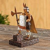 Wood sculpture, 'Inca Warrior'