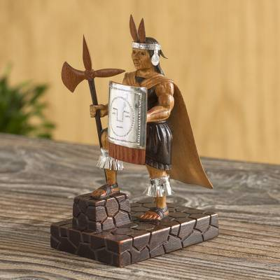 Wood sculpture, 'Inca Warrior' - Artisan Crafted Wood Inca Warrior Sculpture