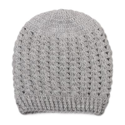 Hand-Crocheted Dove Grey Alpaca Cozy Winter Hat