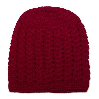 Hand-Crocheted Crimson Alpaca Cozy Winter Hat