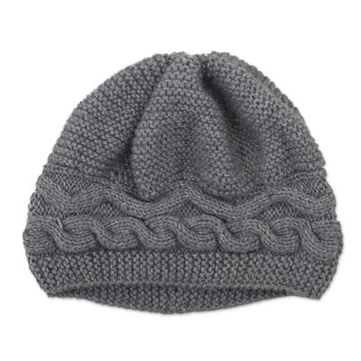 Hand-Knit Grey Alpaca Blend Cozy Winter Hat