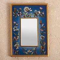 Small reverse-painted glass wall mirror, 'Blue Fields'