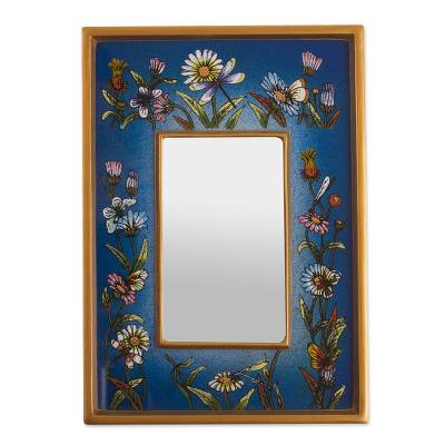 Small reverse-painted glass wall mirror, 'Blue Fields' - Hand Painted Small Glass and Wood Floral Mirror