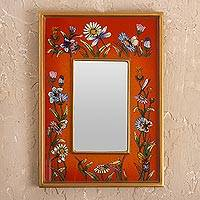 Small reverse-painted glass wall mirror, 'Orange Fields' - Small Orange Reverse-Painted Glass Framed Wall Mirror