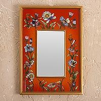 Small reverse-painted glass wall mirror, 'Orange Fields'