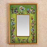 Small reverse-painted glass wall mirror, 'Green Fields'