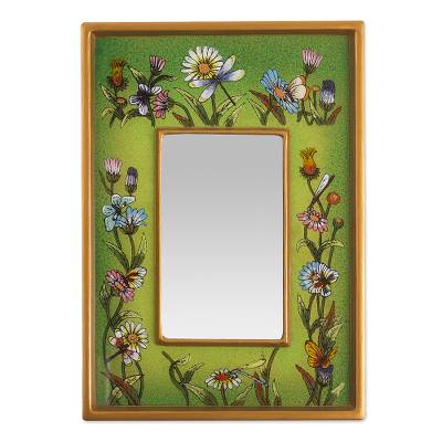 Small reverse-painted glass wall mirror, 'Green Fields' - Small Spring Green Floral Wall Mirror
