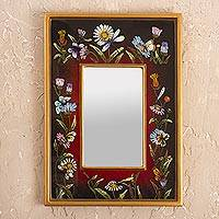 Small reverse-painted glass wall mirror, 'Currant Fields'