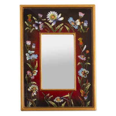 Small reverse-painted glass wall mirror, 'Currant Fields' - Hand Painted Small Glass Framed Wall Mirror