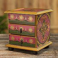 Small reverse-painted glass jewelry chest, 'Vintage Floral in Magenta' - Hand Painted Floral Glass Mini Jewelry Chest