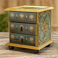 Small reverse-painted glass jewelry chest, 'Vintage Floral in Turquoise' - Artisan Crafted Small Reverse-Painted Glass Jewelry Chest