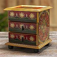 Small reverse-painted glass jewelry chest, 'Vintage Floral in Red' - Mini Jewelry Chest in Reverse-Painted Glass
