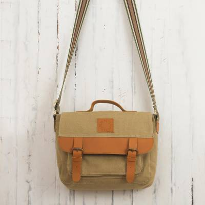 Leather-accented canvas messenger bag, 'Adventurer in Tan' - Tan Canvas Unisex Messenger Bag