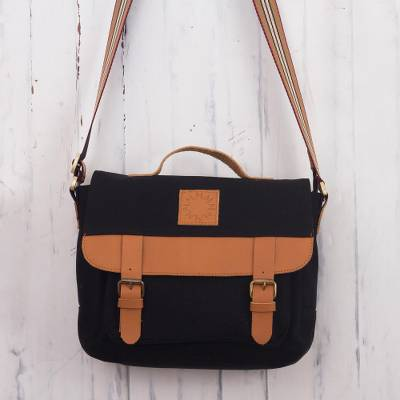 Leather-accented canvas messenger bag, 'Adventurer in Black' - Black Canvas Unisex Messenger Bag
