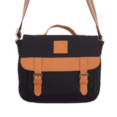Black Canvas Unisex Messenger Bag