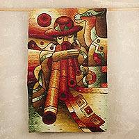 Alpaca tapestry, 'Andean Winds' - Alpaca Wool Tapestry of Man Playing Pan Pipe
