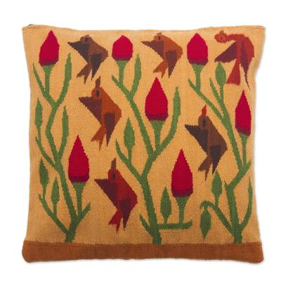 Bird and Flower Motif Wool Cushion Cover