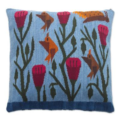 Blue Floral Wool Cushion Cover from Peru