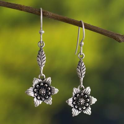 Sterling silver dangle earrings, 'Magic of Nature' - Handmade Flower Earrings in Sterling Silver