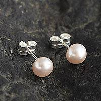 Cultured pearl stud earrings, 'Perfectly Pink' - Elegant Pink Cultured Pearl Stud Earrings