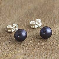 Cultured pearl stud earrings, 'Perfectly Dark' - Artisan Crafted Dark Grey Cultured Pearl Studs
