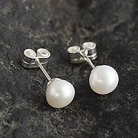 Cultured pearl stud earrings, 'Perfectly White' - White Cultured Pearl Classic Stud Earrings