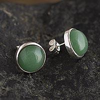 Aventurine stud earrings, 'Green Elysium' - Aventurine Stud Earrings in Sterling Silver