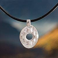 Sterling silver pendant necklace, 'Chakana' - Hand Crafted Chakana Cross Pendant Necklace