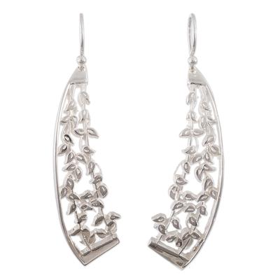 Sterling silver dangle earrings, 'Leafy Trellis' - Leaf Motif Sterling Silver Earrings