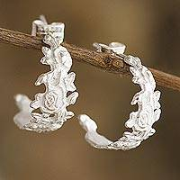 Sterling silver half-hoop earrings, 'Ravishing Roses' - Half-Hoop Earrings with Rose Motif