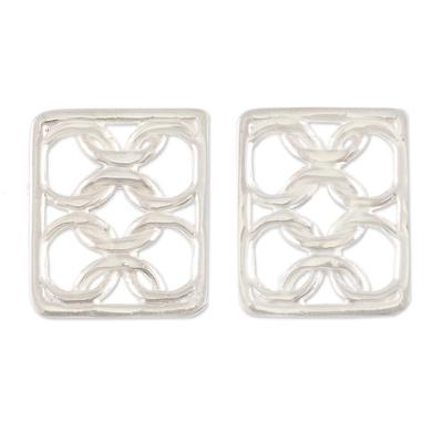 Sterling silver drop earrings, 'Infinite Ties' - Polished Sterling Silver Drop Earrings