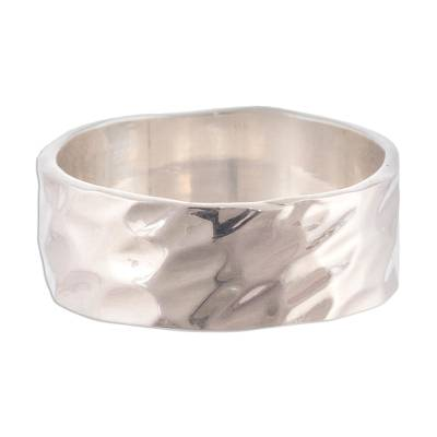 Sterling silver band ring, 'Terrain' - Unisex Sterling Silver Band Ring