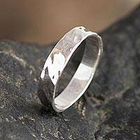 Sterling silver band ring, 'Stratum' - Hammered Sterling Silver Band Ring