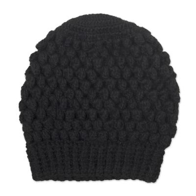 Hand-Crocheted Bubble Pattern Black Alpaca Cozy Winter Hat