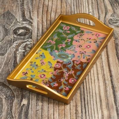 Reverse-painted glass tray, 'Miraflores Flora' - Reverse-Painted Glass Floral Tray