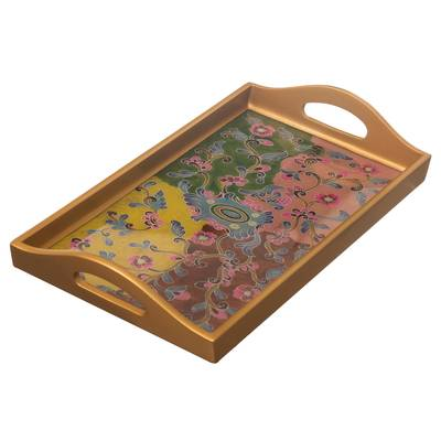Reverse-Painted Glass Floral Tray