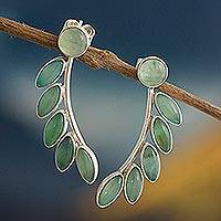 Opal drop earrings, 'Leafy Branch' - Andean Opal and Sterling Silver Earrings
