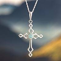 Opal pendant necklace, 'Faith and Devotion' - Sterling Silver and Opal Cross Necklace