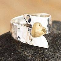 Gold-accented sterling silver cocktail ring, 'Love on the Line' - Hammered Silver and Gold Flashed Cocktail Ring