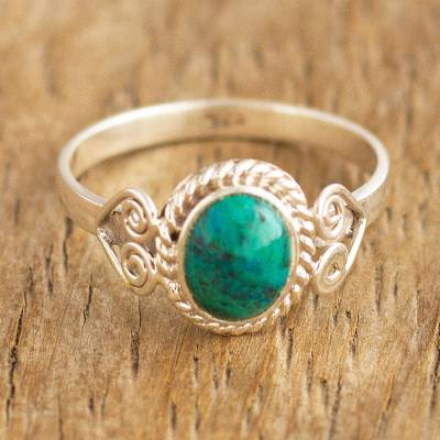 Chrysocolla cocktail ring, 'Green Sophistication' - Natural Chrysocolla Cocktail Ring